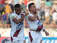NEIVA- COLOMBIA, 17-03-2019:Alex Castro  jugador del Deportes Tolima celebra después de anotar un gol al Atlético Huila.Acción de juego entre los equipos  Atlético Huila y el Deportes Tolima durante partido por la fecha10 de la Liga Águila I 2019 jugado en el estadio Guillermo Plazas Alcid de la ciudad de Neiva. /Alex Castro palyer of Deportes Tolima celebrates after scoring the  goal agaisnt ofAtletico Huila . Action game between Atletico Huila and  Deportes Tolima during the match for the date 10 of the Liga Aguila I 2019 played at the Guillermo Plazas Alcid Stadium in Neiva  city. Photo: VizzorImage / Sergio Reyes / Contribuidor.