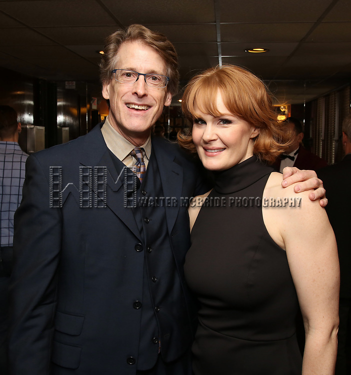 Dick Scanlan and Kate Baldwin attend the The Robert Whitehead Award presented to Mike Isaacson at Sardi's on May 10, 2017 in New York City.