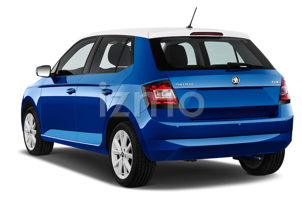 Car pictures of rear three quarter view of a 2015 Skoda Fabia Ambition 5 Door Hatchback Angular Rear