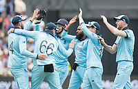 High Fives as England and Adil Rashid (England) celebrate the wicket of Alex Carey during Australia vs England, ICC World Cup Semi-Final Cricket at Edgbaston Stadium on 11th July 2019