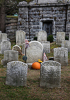 Burial site of writer Washington Irving in Sleepy Hollow Cemetery, New York, USA
