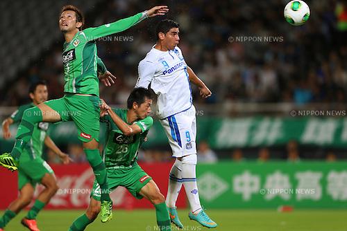 (L to R) Ryosuke Tone (Verdy), Akira Ibayashi (Verdy), Rocha (Gamba), <br /> July 27, 2013 - Football / Soccer : <br /> 2013 J.LEAGUE Division 2, 26th Sec <br /> match between Tokyo Verdy 3-3 Gamba Osaka <br /> at Ajinomoto Stadium Hiratsuka, Kanagawa, Japan. <br /> (Photo by Daiju Kitamura/AFLO SPORT) [1045]