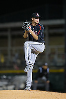 Kannapolis Intimidators starting pitcher Spencer Adams (12) in action against the Hickory Crawdads at L.P. Frans Stadium on April 23, 2015 in Hickory, North Carolina.  The Crawdads defeated the Intimidators 3-2 in 10 innings.  (Brian Westerholt/Four Seam Images)