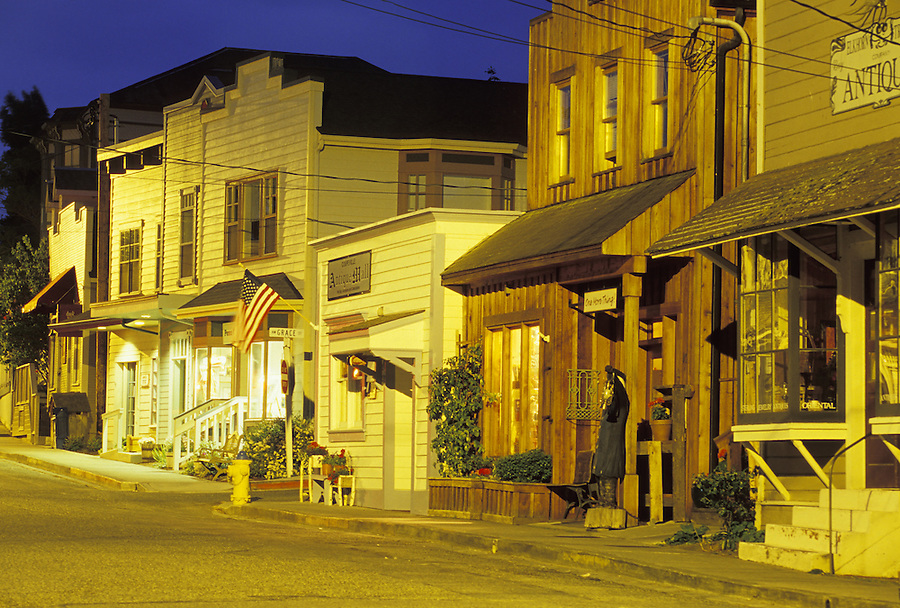 Western-style store fronts at night, Coupeville, Washington
