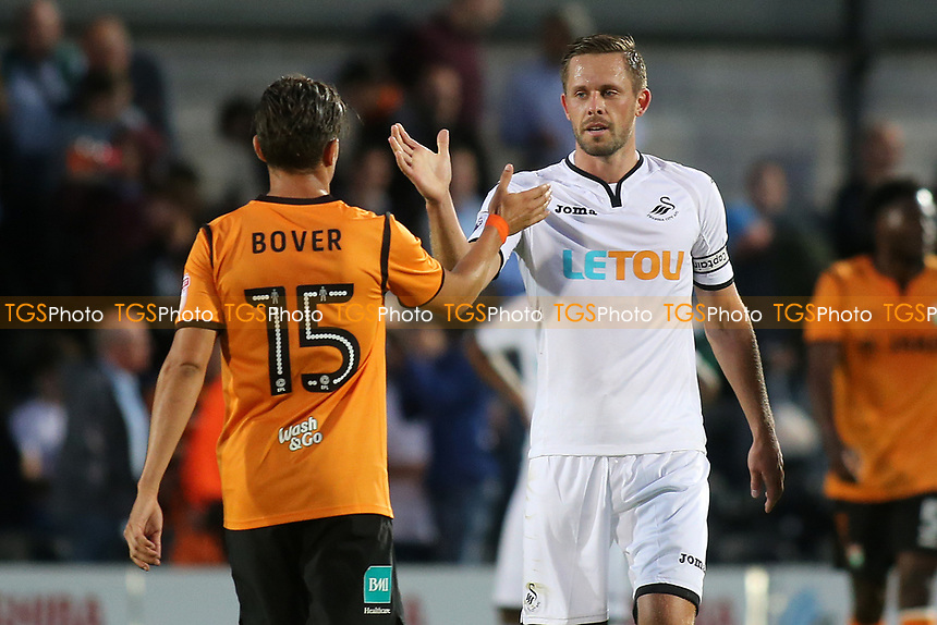 Gylfi Sigurdsson of Swansea City shakes hands with Barnet's Ruben Bover at the final whistle during Barnet vs Swansea City, Friendly Match Football at the Hive Stadium on 12th July 2017