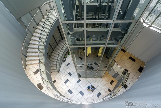 Stairwell in the Mode Gakuen Tower in Shinjuku, Tokyo, Japan.