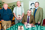 "Kitchner Weekend : Trevor Royle, author of ""The Kitchner Enigma"" signing copies of this book after his lecture on Kitchner at the Seanchai Centre, Listowel on Saturday night last. L-R : Jim Halpin, John Wade, Trevor Royle & Dr. Declan Downey."