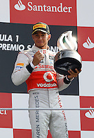 MONZA, ITALIA, 09 SETEMBRO 2012 - F1 GP DA ITALIA - O piloto britanico Lewis Hamilton, da McLaren, vencedor da prova no pódio do Grande Prêmio da Itália de Fórmula 1, no circuito de Monza, na Itália, neste domingo (09). (PHOTO: PIXATHLON / BRAZIL PHOTO PRESS).