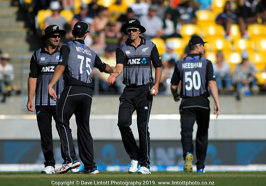 Tim Southee celebrates catching Saqib Mahmood. Twenty20 International cricket match between NZ Black Caps and England at Westpac Stadium in Wellington, New Zealand on Sunday, 3 November 2019. Photo: Dave Lintott / lintottphoto.co.nz