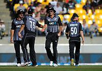 Tim Southee celebrates catching Saqib Mahmood. Twenty20 International cricket match between NZ Black Caps and England at Westpac Stadium in Wellington, New Zealand on Sunday, 3 November 2019. Photo: Dave Lintott / lintottphoto.co.nz