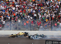 May 28, 2017; Indianapolis, IN, USA; IndyCar Series drivers James Hinchcliffe (5) and Josef Newgarden (2) crash during the 101st Running of the Indianapolis 500 at Indianapolis Motor Speedway. Mandatory Credit: Mark J. Rebilas-USA TODAY Sports
