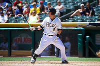 Taylor Lindsey (8) of the Salt Lake Bees at bat against the Nashville Sounds in Pacific Coast League action at Smith's Ballpark on June 22, 2014 in Salt Lake City, Utah.  (Stephen Smith/Four Seam Images)