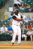 Arkansas Travelers outfielder Jared Mitchell (19) at bat during a game against the Corpus Christi Hooks on May 29, 2015 at Dickey-Stephens Park in Little Rock, Arkansas.  Corpus Christi defeated Arkansas 4-0 in a rain shortened game.  (Mike Janes/Four Seam Images)