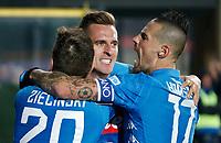 Arkadiusz Milik of Napoli  celebrates after scoring<br />  during the  italian serie a soccer match,Atalanta - SSC Napoli at  the Atleti azure d'italia   stadium in Bergamo Italy , December 03, 2018