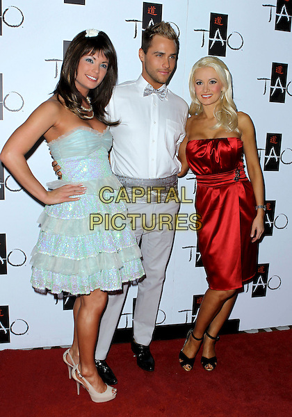 LAURA CROFT, JOSH STRICKLAND & HOLLY MADISON.21st Birthday Party for Angel Porrino at Tao Nightclub inside the Venetian Resort Hotel and Casino, Las Vegas, Nevada, USA, 6th May 2010..full length strapless pale green blue dress tiered ruffles ruffle shiny peep toe platform cream white shoes sequined sequin red silk satin white shirt bow tie grey gray trousers .CAP/ADM/MJT.© MJT/AdMedia/Capital Pictures.
