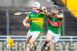 Ricky Heffernan Lixnaw in action against David Behan Crotta O'Neills in the Kerry County Senior Hurling Championship in Austin Stack Park Tralee on Sunday.