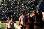 European Team Captain Ian Woosnam walks down the ramp with the Ryder Cup followed by his team and alongside the opposing USA Team at the closing ceremony of the 2006 Ryder Cup at The K Club..Photo: Eoin Clarke/Newsfile.