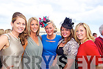 Collette O'Leary and Dorren Fitzgerald(Castlegregory), Lisa Fitzgibbon(Camp), Marie Fitzgibbon(Derrymore) and Sarah Fitzgibbon(Tralee) enjoying ladies day last Friday afternoon in Listowel...