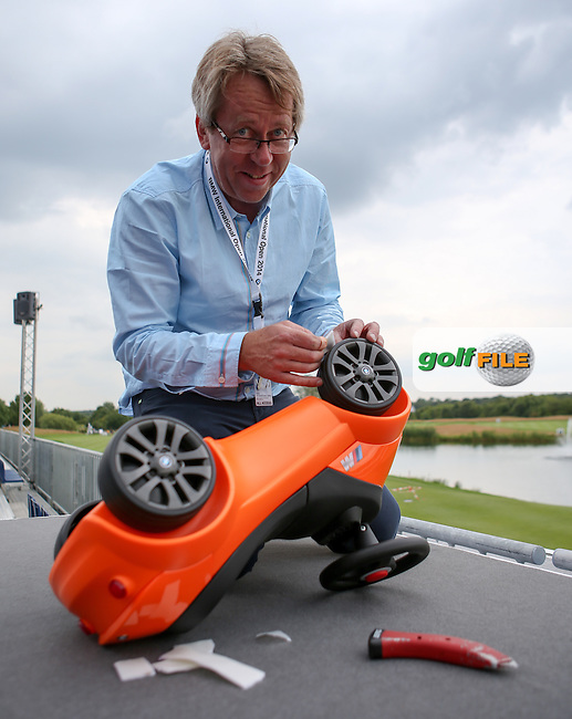 Technical Director Clemens Ranziger hard at work making the toy BMW car for the hole-in-one competition during the preview days of the BMW International Open 2014 from Golf Club Gut Lärchenhof, Pulheim, Köln, Germany. Picture:  David Lloyd / www.golffile.ie