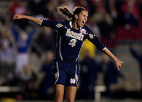 Mandy Laddish (2) of Notre Dame celebrates her game-winning goal during the first game of the NCAA Women's College Cup at WakeMed Soccer Park in Cary, NC.  Notre Dame defeated Ohio State, 1-0.
