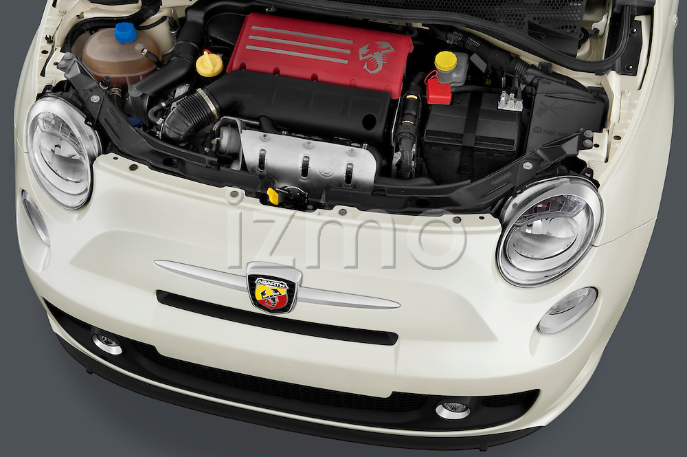 High angle engine detail of a 2009 Fiat 500 Abarth 3 door hatchback .
