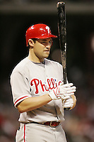 Phillies OF Pat Burrell on Saturday May 24th at Minute Maid Park in Houston, Texas. Photo by Andrew Woolley / Four Seam Images..