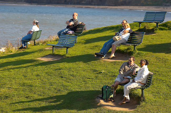 Runswick Bay - North Yorkshire - England people on seats