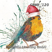 Simon, CHRISTMAS ANIMALS, WEIHNACHTEN TIERE, NAVIDAD ANIMALES, paintings+++++Card_KatherineW_SplatterChristmasBird,GBWR120,#xa#