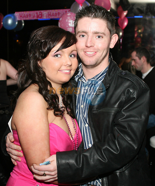 Sinead Boyle with her boyfriend Roy Duggan at her 18th in QBar..Photo NEWSFILE/Jenny Matthews.(Photo credit should read Jenny Matthews/NEWSFILE)....This Picture has been sent you under the condtions enclosed by:.Newsfile Ltd..The Studio,.Millmount Abbey,.Drogheda,.Co Meath..Ireland..Tel: +353(0)41-9871240.Fax: +353(0)41-9871260.GSM: +353(0)86-2500958.email: pictures@newsfile.ie.www.newsfile.ie.FTP: 193.120.102.198.