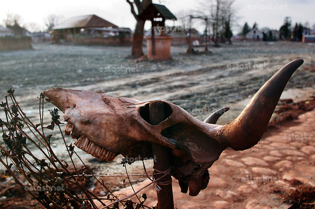 UNGARN, 12.2010, Devecser bei Ajka. Rotschlamm-Katastrophe: Am 4. Oktober brach der Damm eines riesigen Absetzbeckens. Eine bis zu drei Meter hohe giftige Schlammflut waelzte sich durch mehrere Doerfer. Das verseuchte Gebiet ist total verlassen. Der Boden wird abgetragen, Haeuser werden abgerissen. Rotschlamm entsteht als Abfall bei der Aluminiumoxid-Herstellung, dem Aluminium-Grundstoff. Die Region ist das Zentrum der ungarischen Aluminiumindustrie. | Red mud disaster: The dam of a giant tailings pond broke on October 4. An up to three meter high poisonous sludge wave rushed through several villages. The worst his areas are empty and deserted. The polluted soil is removed, houses are demolished. Red mud is the main waste material when producing aluminiumoxide. The region is the centre of the Hungarian aluminium industry..© Martin Fejer/EST&OST