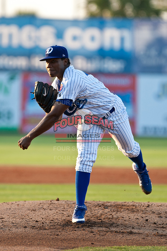 Pitcher Frank Del Valle #49 of the Daytona Cubs during the game against the Clearwater Threshers at Jackie Robinson Ballpark on May 5, 2012 in Daytona Beach, Florida. (Scott Jontes/Four Seam Images)