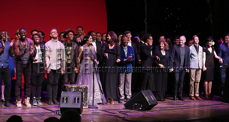 Celina Jaitly, Stephanie J. Block, Billy Porter, Patti LuPone, Sting, Vlad, Lena Hall and cast performing at 'Uprising Of Love: A Benefit Concert For Global Equality' at the Gershwin Theatre on September 15, 2014 in New York City.
