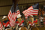 Howard Park-Ed Hughes Arena, Ione Ranch Rodeo..Painted Ladies horse mounted drill team with U.S. flags