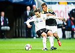 Solna 2015-04-26 Fotboll Allsvenskan AIK - &Ouml;rebro SK :  <br /> &Ouml;rebros Nordin Gerzic i kamp om bollen med AIK:s Niclas Eliasson under matchen mellan AIK och &Ouml;rebro SK <br /> (Foto: Kenta J&ouml;nsson) Nyckelord:  AIK Gnaget Friends Arena Allsvenskan &Ouml;rebro &Ouml;SK