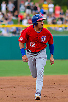 Buffalo Bisons third baseman Gio Urshela (12) runs to third base during an International League game against the Indianapolis Indians on July 28, 2018 at Victory Field in Indianapolis, Indiana. Indianapolis defeated Buffalo 6-4. (Brad Krause/Four Seam Images)