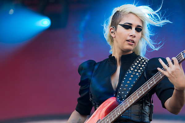 May 6, 2016. Concord, North Carolina. <br />  Ashley Dzerigian, bass player for FILTER.<br />  The 2016 Carolina Rebellion was held over May 6-8 next to the Charlotte Motor Speedway and featured over 50 bands including headliners Lynyrd Skynyrd, The Scorpions, Five Finger Death Punch, Disturbed, and Rob Zombie.