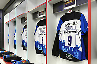The jersey of Kahn Fotuali'i of Bath Rugby in the changing rooms. The Clash, Aviva Premiership match, between Bath Rugby and Leicester Tigers on April 7, 2018 at Twickenham Stadium in London, England. Photo by: Patrick Khachfe / Onside Images