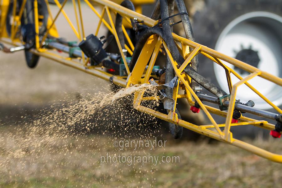 Applying liquid fertiliser to potato land - Lincolnshire, April