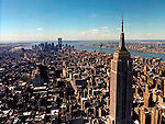 aerial view of the world trade center and the empire state building view south towards harbor