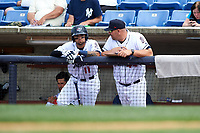Binghamton Rumble Ponies right fielder L.J. Mazzilli (11) in the dugout with hitting coach Valentino Pascucci (44) during a game against the Hartford Yard Goats on July 9, 2017 at NYSEG Stadium in Binghamton, New York.  Hartford defeated Binghamton 7-3.  (Mike Janes/Four Seam Images)