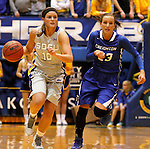 BROOKINGS, SD - NOVEMBER 18:  Kerry Young #10 from South Dakota State University pushes the ball up court past Marissa Janning #23 from Creighton in the first half of their game Tuesday night at Frost Arena in Brookings. (Photo by Dave Eggen/Inertia)