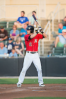 Louie Lechich (21) of the Kannapolis Intimidators at bat against the Delmarva Shorebirds at CMC-Northeast Stadium on June 6, 2015 in Kannapolis, North Carolina.  The Shorebirds defeated the Intimidators 7-2.  (Brian Westerholt/Four Seam Images)