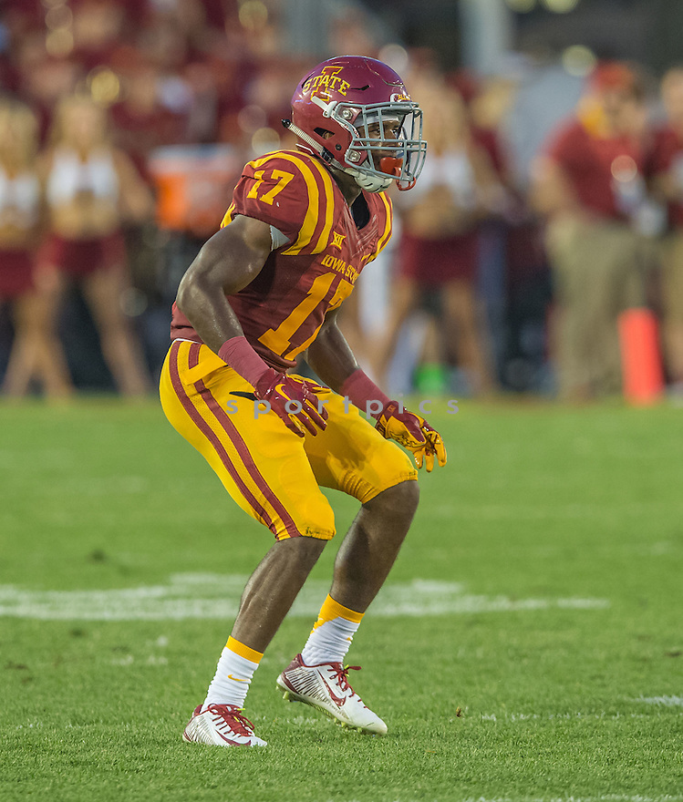 Iowa State Cyclones Jomal Wiltz (17) during a game against the Northern Iowa Panthers on September 5, 2015 at Jack Trice Stadium in Ames, Iowa. Iowa State beat Northern Iowa 31-7.