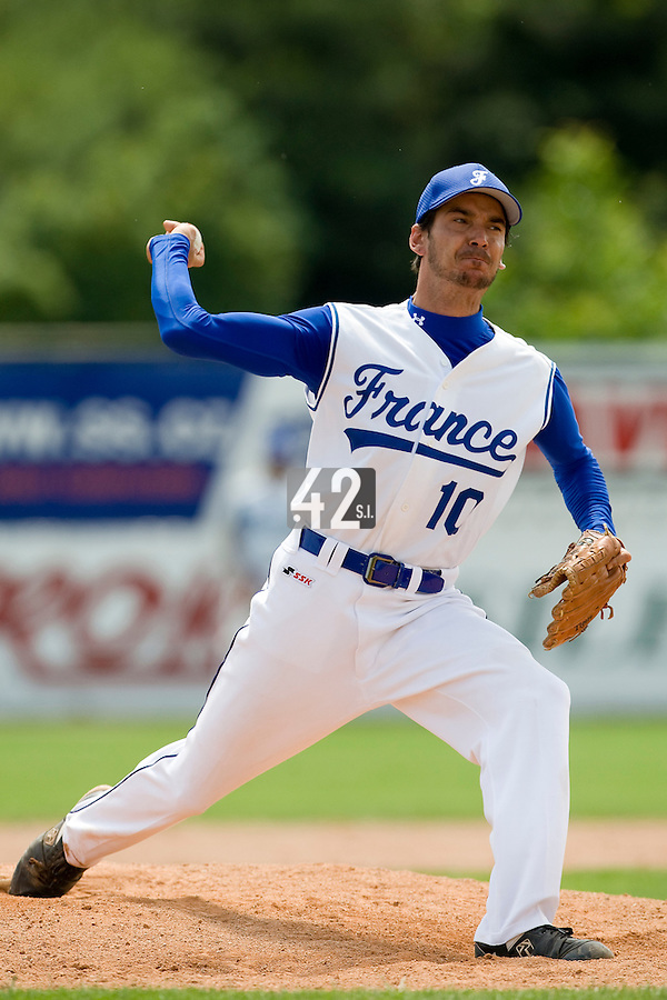BASEBALL - GREEN ROLLER PARK - PRAGUE (CZECH REPUBLIC) - 25/06/2008 - PHOTO: CHRISTOPHE ELISE. PITCHER SAMUEL MEURANT (TEAM FRANCE)