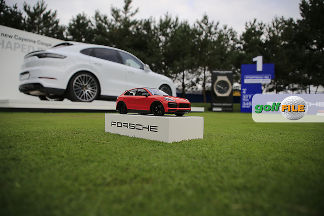 Tee marker at  the Pro-Am at the  Porsche European Open, Green Eagles Golf Club, Luhdorf, Winsen, Germany. 04/09/2019.<br /> Picture Fran Caffrey / Golffile.ie<br /> <br /> All photo usage must carry mandatory copyright credit (© Golffile | Fran Caffrey)