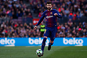 18th March 2018, Camp Nou, Barcelona, Spain; La Liga football, Barcelona versus Athletic Bilbao; Gerard Pique of FC Barcelona controls the ball through midfield