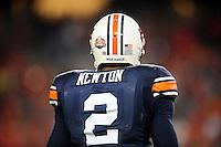Jan 10, 2011; Glendale, AZ, USA; Auburn Tigers quarterback Cameron Newton (2) before the 2011 BCS National Championship game against the Oregon Ducks at University of Phoenix Stadium.  Mandatory Credit: Mark J. Rebilas-
