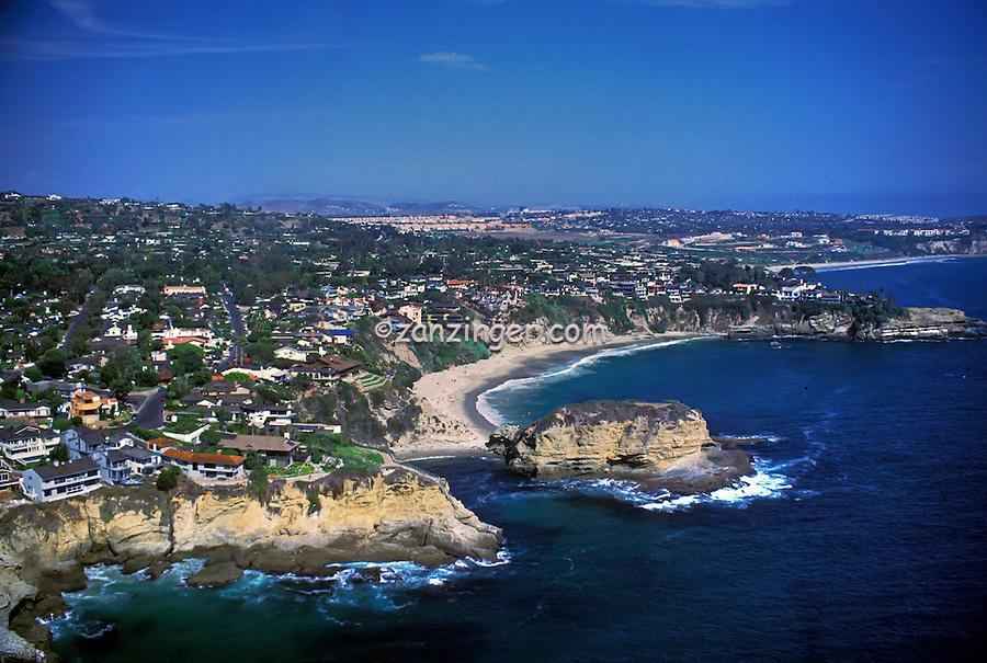 Laguna Beach, CA, Whale Island, Shell Cove, Aerial View, Coast, Waterfront, Luxury Home's Cliffs, Bluffs, Ocean, Waves