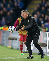 Leicester City Manager Craig Shakespeare throws the ball back during the UEFA Champions League QF 2nd Leg match between Leicester City and Atletico Madrid at the King Power Stadium, Leicester, England on 18 April 2017. Photo by Andy Rowland.