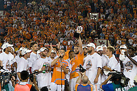 Houston Dynamo team captain Wade Barrett addresses the fans while Eddie Robinson lifts the trophy. The Houston Dynamo defeated the Kansas City Wizards 2-0 at Robertson Stadium in Houston, TX on November 10, 2007 to capture the MLS Western Conference Championship. The Houston Dynamo will take on the New England Revolution in the MLS Cup Final on November 18, 2007 at RFK Stadium in Washington D.C.
